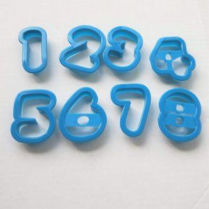 8 Wilton Number Cookie Cutters Full Set Plastic